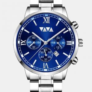 Large Dial Men Business Watch Stainless Steel Band Calendar Waterproof Quartz Watch discountshub