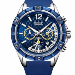 Leisure Sports Men Watch Silicone Band Unique Dial Luminous Chronograph Quartz Watch discountshub