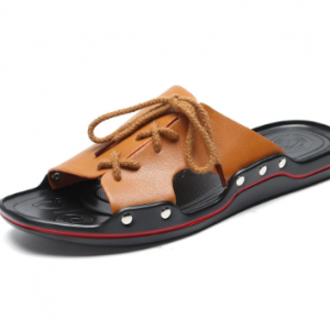 Men Pure Color Leather Slip Resistant Soft Sole Casual Beach Slippers discountshub