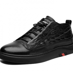 Men Special Crocodile Embossed Comfy Slip Resistant Casual Sneakers discountshub