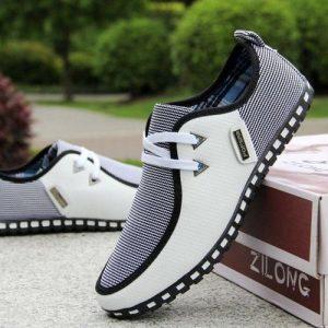 Men's New Fashion Large Size Casual Leather Shoes-Black/White discountshub