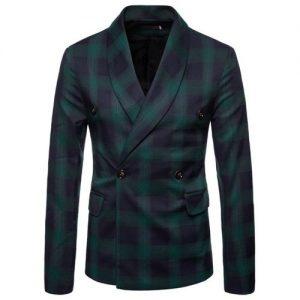 Men's Plaid Blazer Jacket Leisure Suit 5 out of 5 discountshub