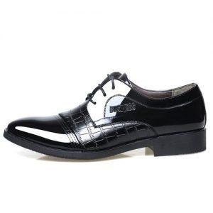 Men's Sleek Leather Lace-up Formal Shoes - Black discountshub