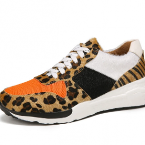 Plus Size Women Casual Leopard Splicing Lace Up Chunky Sneakers discountshub
