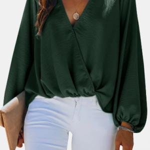 Solid Color Long Sleeve V-neck Blouse For Women discountshub