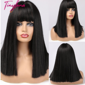 TINY LANA Short Straight Bobo Hair Honey Brown Blonde For America Africa Woman wigs Cosplay Party Synthetic Wigs Heat Resistant discountshub