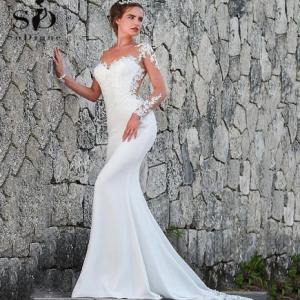 Vintage Mermaid Wedding Dress Scoop-Neck Full Sleeves Wedding Gowns Zipper Back Lace Satin Bride Dress Robe Mariee Dentelle discountshub
