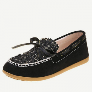 Women Casual Round Toe Knitted Gingham Bowknot Loafers Shoes discountshub
