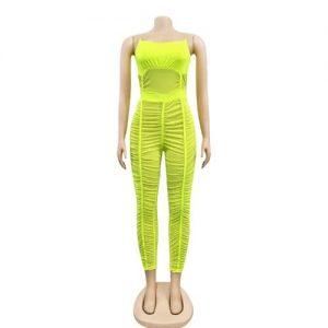 Women's Sexy Spaghetti Strap Bodycon Jumpsuit - Green discountshub