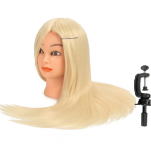 30% Blonde Real Human Hair Training Hairdressing Mannequin Head With Clamp discountshub