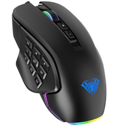 AULA RGB Gaming Mouse 10000 DPI Side Buttons Macro Programmable Ergonomic 14 Key Wired USB Backlit Gamer Mice for Laptop Desktop discountshub
