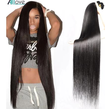 Allove Indian Hair Bundles 30 32 34 36 38 Long Hair Bundles Straight Hair Bundles 100% Human Hair Extensions Non Remy Hair discountshub
