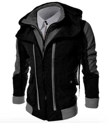Fashion Brand Casual Men's Hoodies Sweatshirts Slim Fit Men Streetwear Double Zipper Jacket Men's Clothing Black discountshub