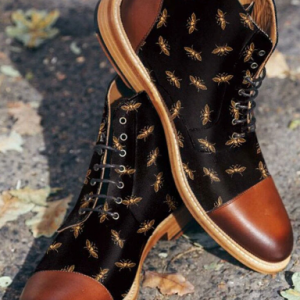 Men British Style Cap Toe Splicing Bees Printed Cloth Ankle Jack Boots discountshub