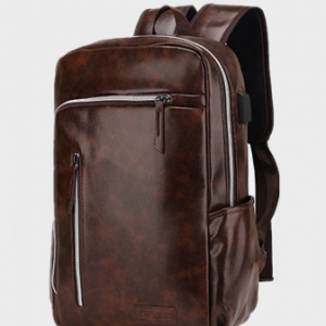 Men Multifunction PU Leather USB Charging Large Capacity Backpack discountshub