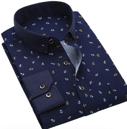 Men Shirt Long Sleeve Floral Printed Plaid Fashion Pocket Casual Shirts 100% Polyester Soft Comfortable Men Dress Shirt discountshub