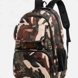 Men Women Outdoor Large Capacity Camo Pattern Print Backpack discountshub