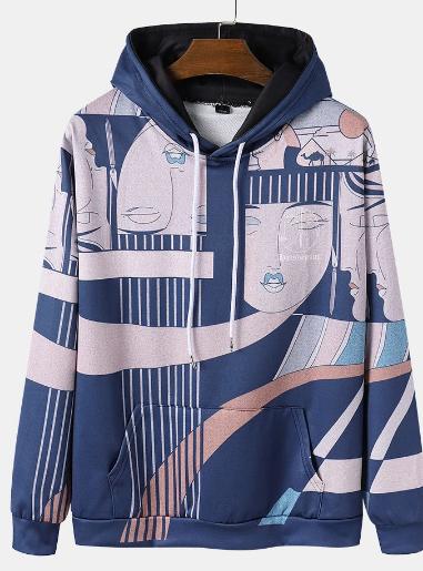 Mens Ethnic Style Print Long Sleeve Hoodie With Kangaroo Pocket discountshub