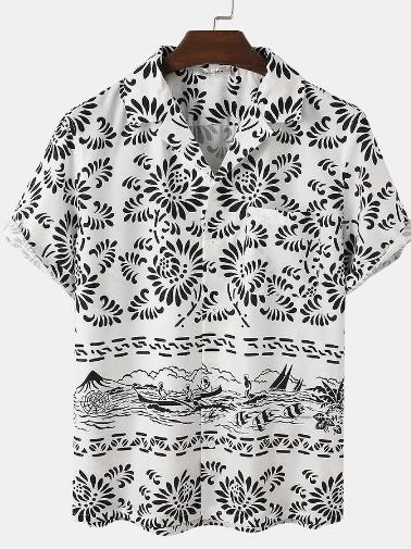 Mens Floral Landscape Print Lapel Designer Short Sleeve Shirt discountshub