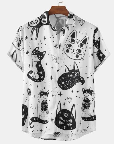 Mens Funny Abstract Cat Pattern Print Short Sleeve Light Shirts discountshub