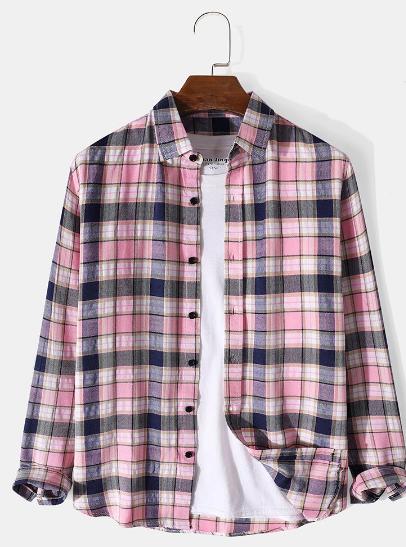 Mens Plaid Print 100% Cotton Casual Button Up Lapel Long Sleeve Shirt discountshub