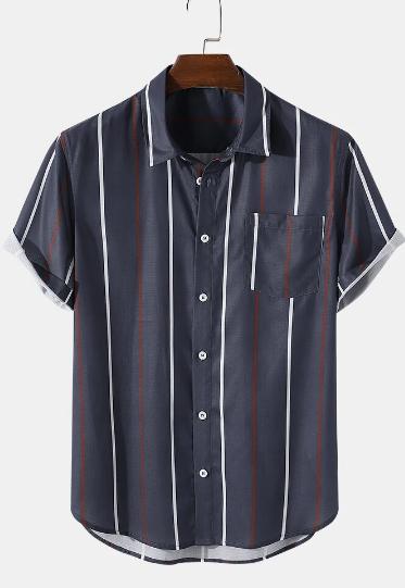 Mens Striped Curved Hem Short Sleeve Shirt With Pocket discountshub