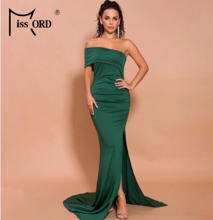 Missord 2021 Summer Sexy Off Shoulder High Split Dresses Elegant Female Solid Color Maxi Dress for Women Summer Clothes FT19550 discountshub