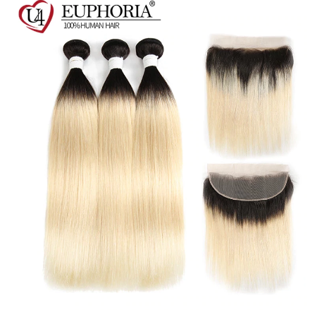 Ombre Blonde Straight Bundles With Frontal Honey 1B 613 Brazilian Remy Human Hair 3 Bundles With Lace Closure Frontal EUPHORIA discountshub
