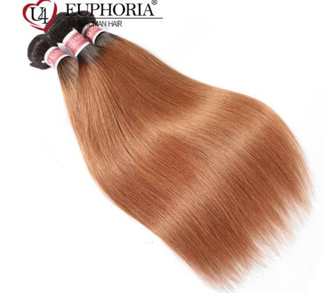 Ombre Color Straight Hair 3 Bundles 1B Burgundy 99J Red Color Brazilian Non-Remy Human Hair Weaving 1/3/4 Pcs Bundles Euphoria discountshub