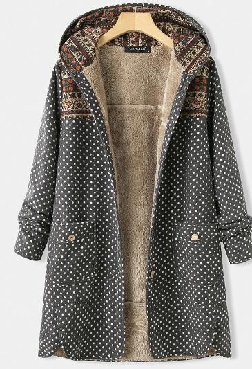 Polka Dot Long Sleeve Hooded Patchwork Pocket Coat For Women discountshub