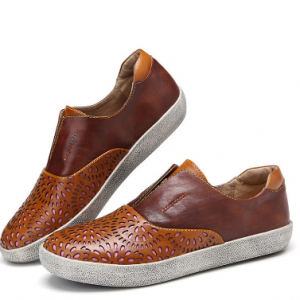 SOCOFY Retro Leather Cutout Splicing Stitching Slip On Flat Sneakers discountshub