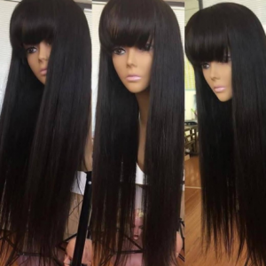 Wig with Bangs Straight lace front Human Hair Wigs For Black Women Brazilian fringe 30 inch wig Short natural Hair Pre Plucked discountshub