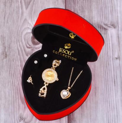 Women Bracelet Watch Set Gold Crystal Design Necklace Earrings ring Female Jewelry Set Quartz Watch Women's Gifts For Valentine discountshub