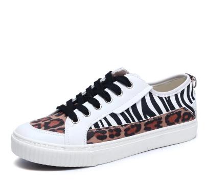 Women Stylish Casual Zebra Leopard Patchwork Round Toe Walking Shoes discountshub