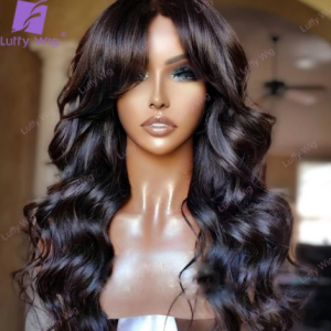 200 Density Wig Human Hair Wigs With Bangs Brazilian Remy Human Hair Machine Made O Scalp Top Wig Wavy For Black Women Luffywig discountshub