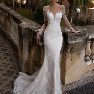 2021 New Arrival Illusion O Neck Full Sleeves Detachable Skirt Mermaid Wedding Dresses Appliqued Crystal Lace Bridal Gowns discountshub