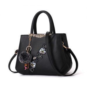 2021 New Fashion Embroidery Ladies Handbags-Black discountshub