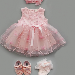 4Pcs/Set Baby Summer Dress Infant Girls Princess Christening Baptism Dress Gown Party Wedding 0 3 6 9 Months Baby Dress Outfits discountshub