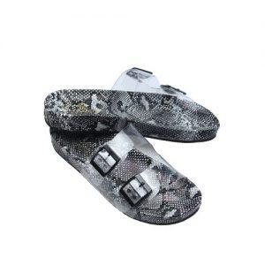 Black Snake Skin Fashion Slippers- Transparent discountshub