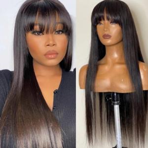 Bone Straight 100% Human Hair Wig With Bangs 28 30 Inch Fringe Bob Wig Human Hair Wigs Cheap Long Brazilian Wigs For Women discountshub