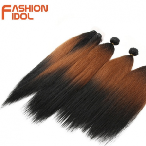 FASHION IDOL 18-22 Inch Yaki Straight Hair Bundles 6 Inch Lace Front With Closure Weave Hair Ombre Brown Golden Hair Extension discountshub