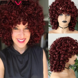 FAVE Afro Kinky Curly Wig With Bangs Black Red Synthetic Hair Shoulder LengthHeat Resistant Fiber For Africa America Black Women discountshub