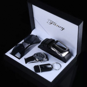 Fashion Watch Men Luxury Gift Set Sunglasses Keychain Top Quality Belt Multiple Time Zone Wrist Watch For Father Men Gift discountshub