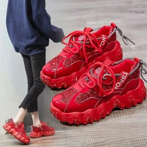 Girls Breathable And Comfortable Red Sneakers discountshub