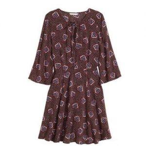 H & M Women Patterned Dress In Brown discountshub