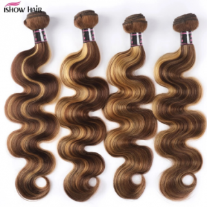 Ishow Brazilian Ombre Hair Bundles Body Wave Human Hair Bundles P4/27 Brown with Highlight Color Remy Hair Weave Bundle Sew In discountshub