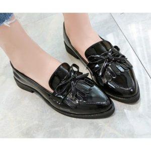 Ladies Bow Tassel Flat Loafers Shoe - Black discountshub