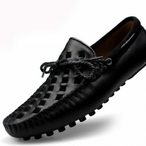 Leather Men Shoes Casual Flats Men Shoes Breathable Loafers Genuine Leather Slip Moccasins Comfortable Checkered embossing 2019 discountshub