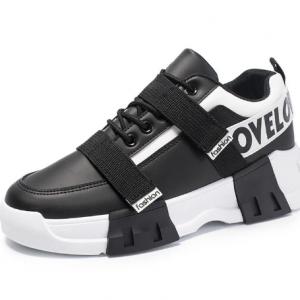 Men Brief Letter Pattern Hook Loop Lace-up Outdoor Chunky Sneakers discountshub