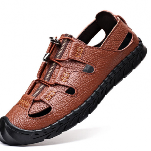 Men Closed Toe Hand Stitching Outdoor Water Hole Leather Sandals discountshub